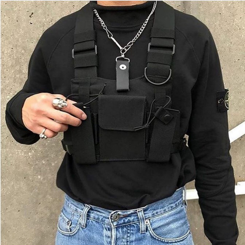 Black Hip Hop Streetwear Military Chest Rig Bag For Men Functional Waist Packs Adjustable Pockets Waistcoat Fashion Chest Bags