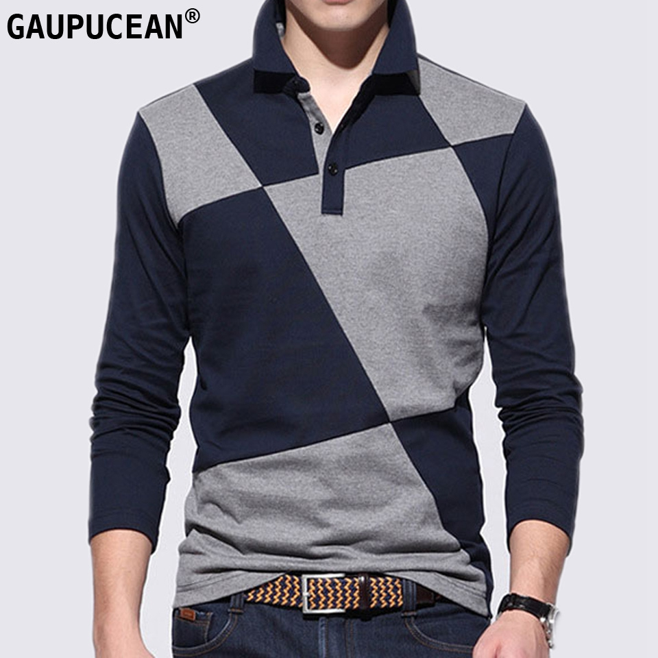 Quality Fashion Cotton Man   POLO  -shirt Long Sleeve Turn Down Collar Casual Patchwork Male Spring Autumn Grey Blue Men   Polo   Shirt