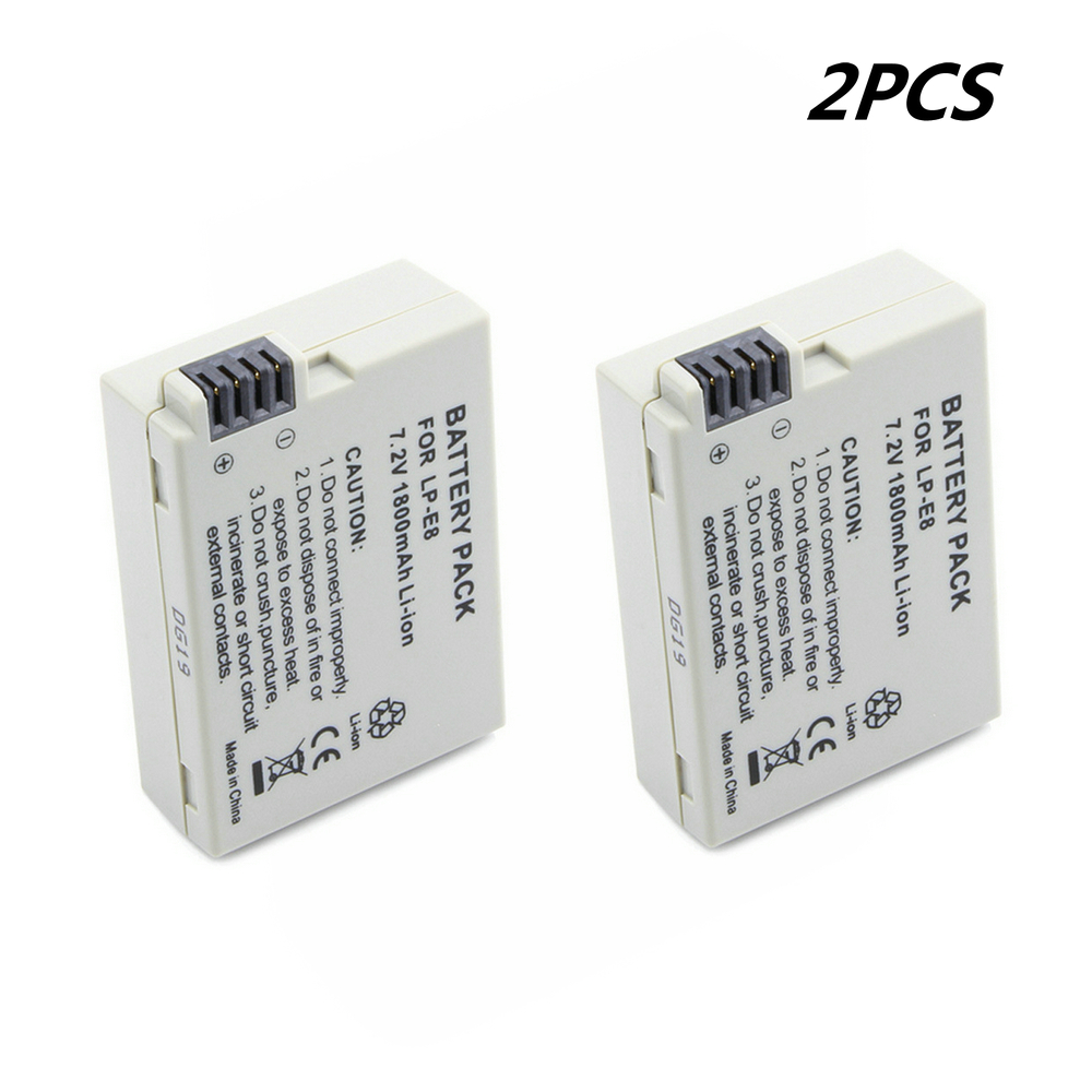 2PCS Rechargeable camera <font><b>battery</b></font> LP E8 LP-E8 7.2V 1800mAh Li ion lpe8 <font><b>battery</b></font> for <font><b>Canon</b></font> X4 X5 EOS <font><b>550D</b></font> 650D 700D Rebel t3i t5i image