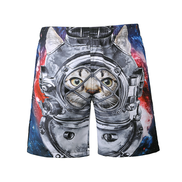 Men quick dry board shorts Sea short de bain cat print 3D swimwear bermuda masculina  shorts summer funny  shorts