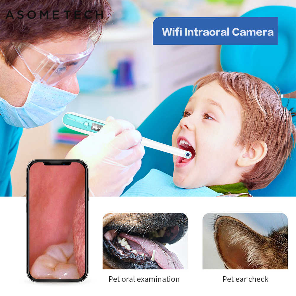 Wireless Wifi Oral Dental Endoscope 8 adjustable led lights Intraoral Camera HD Video For ios android Teeth Inspection endoscope