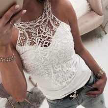 Elegant embroidery white lace tops Women sleeveless cami top
