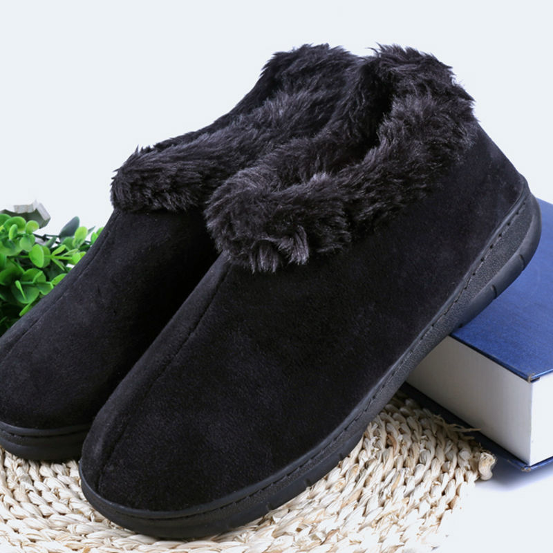 Lelaki Winter Soft Slippers Plush Male Shoes Home Men's Indoor Warm Slippers Shoes