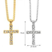 643d604c33e0 Hip Hop Cruz colgante collar hombres mujeres joyería egipcia iced out oro  plata Bling rhinestone Crystal Cross punk Collares