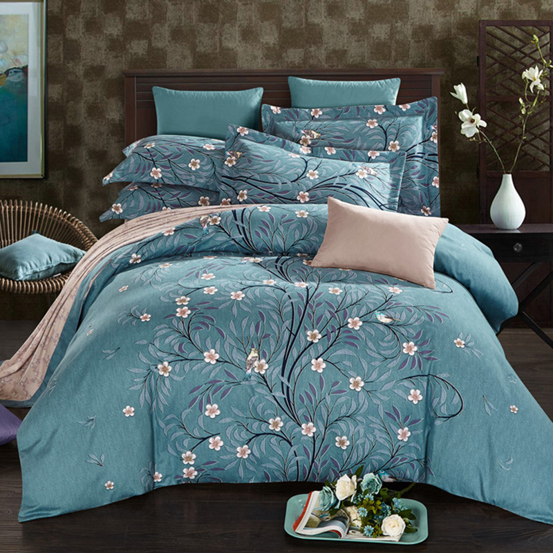 Plant Bed Sheets Bedding Set Floral Bed Linen Set Queen King Size Duvet Cover with Pillow Cases Flat Sheet 100% Cotton 4pcsPlant Bed Sheets Bedding Set Floral Bed Linen Set Queen King Size Duvet Cover with Pillow Cases Flat Sheet 100% Cotton 4pcs