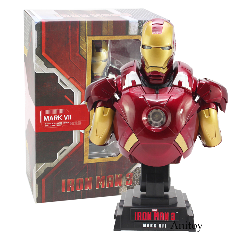 Iron Man 3 MARK VII 1/4 Scale Limited Edition Collectible Bust Figure Model Toy with LED Light 23cm цена