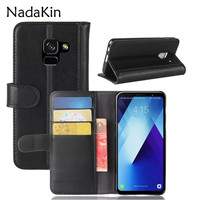 For A730F Retro Magnetic Wallet Genuine Leather Case For Samsung Galaxy A7 2018 A730 A730F Flip