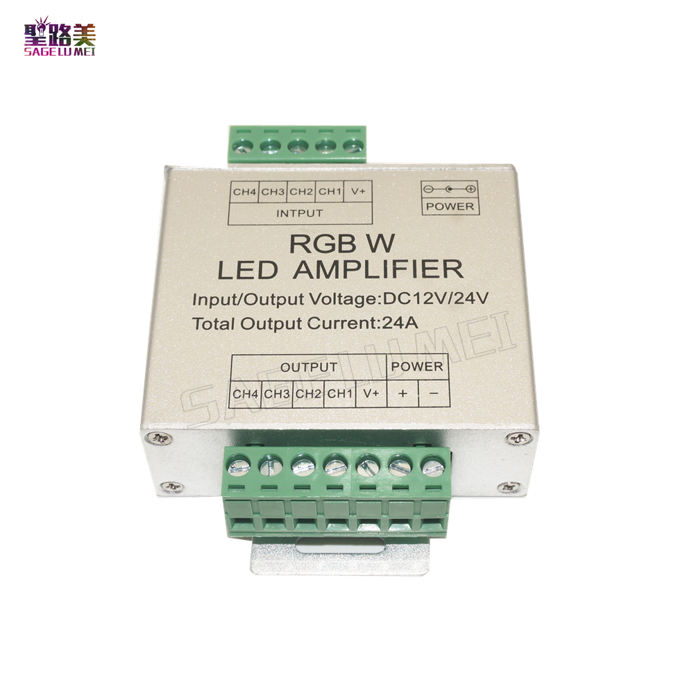 DC12V-24V Led RGB RGBW Amplifier Aluminum 24A 3CH 4CH Led Controller for 5050 3528 Led Strip Light Tape Power Repeater Console