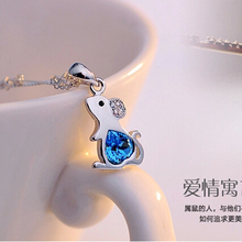 100% Actual 925 Pure Silver Cute Little Mouse Ocean Blue Coronary heart Cubic Zirconia Pendants Necklaces For Ladies Ladies Vogue Jewellery