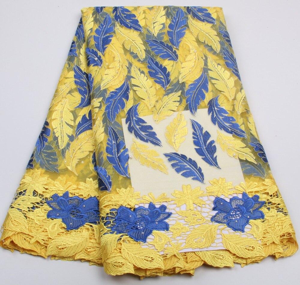 ᑎ‰Más nuevo duotono color hoja patrón bordado encaje de tela de ...