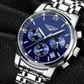 2016 Nova Marca de Luxo GUANQIN Cronógrafo Homens Esportes Relógios À Prova D' Água Relógio Dos Homens de Aço Completo relógio de Quartzo Relogio masculino