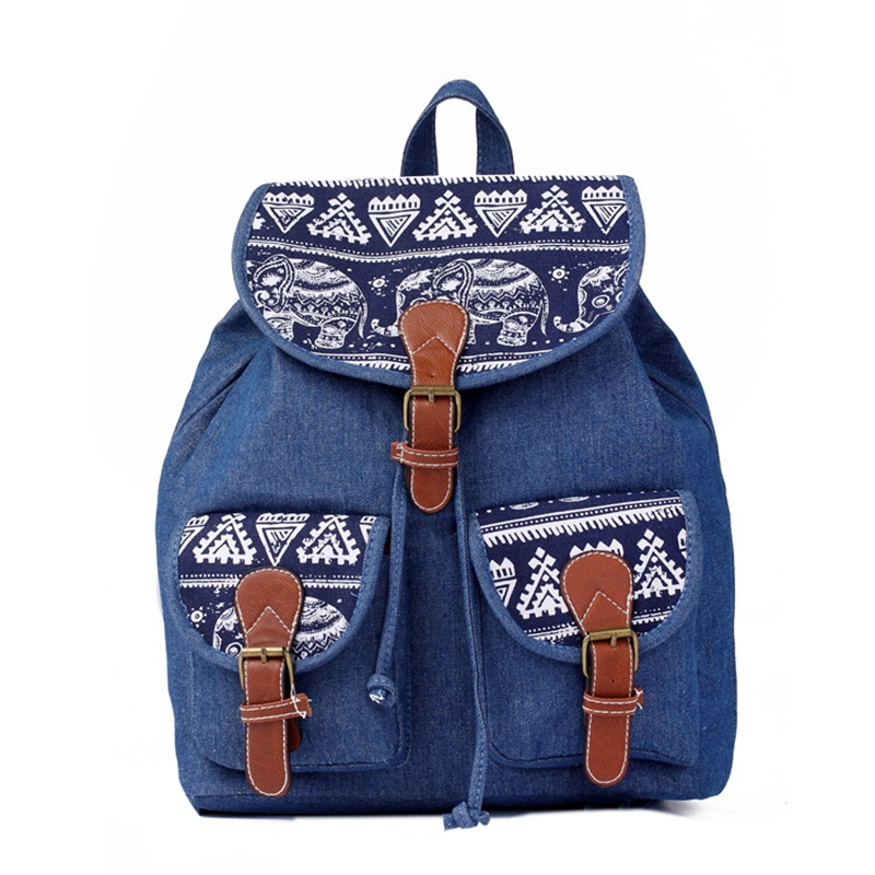 New Fashion Canvas Women Backpack Male Casual Elephant Printing Backpack School Travel Backpacks