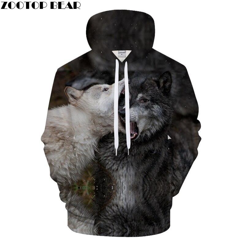 Fighting Wolf Hoodies Men Women Sweatshirts Streatwear Pullover 3D Tracksuits Anime Coat Unisex Hoody Brand Drop ship ZOOTOPBEAR