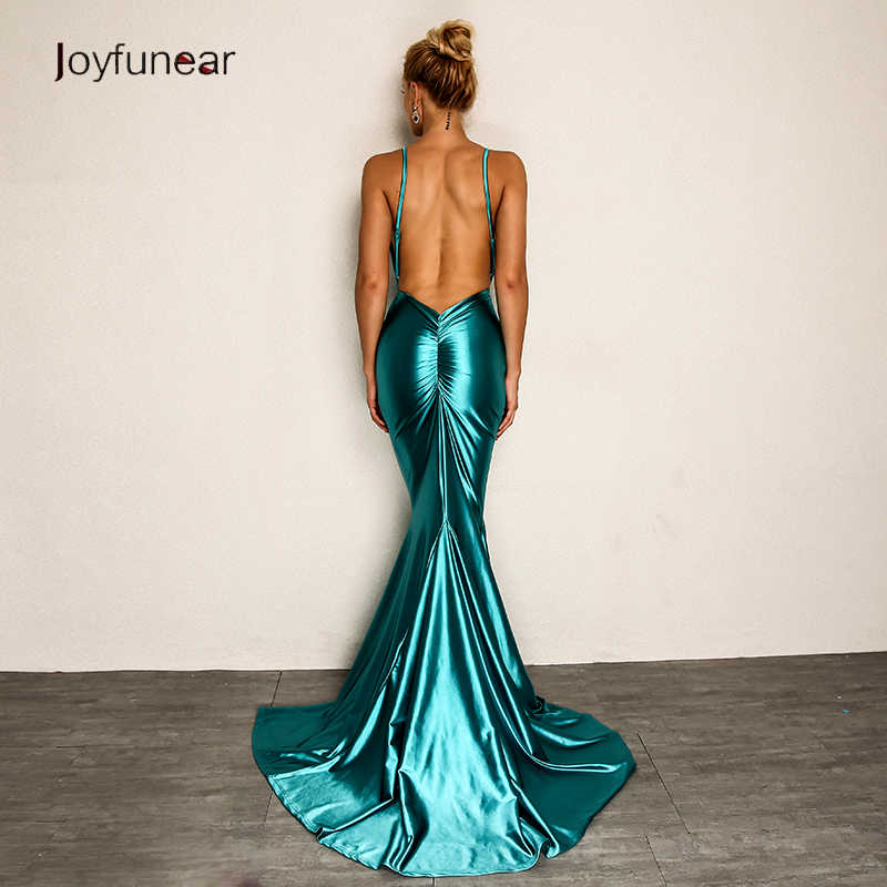 04e6c84785 Joyfunear New Maxi Dress Summer 2019 Backless V Neck Sexy Dress Party  Elegant Evening Bodycon Long Dresses Women Vestidos
