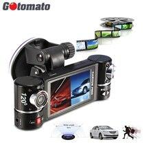 Gotomato объективами автомобильный Камера ИК Ночное видение автомобиля Регистраторы F600 двойной 180 градусов вращения Видеорегистраторы для автомобилей автомобиля видеокамера