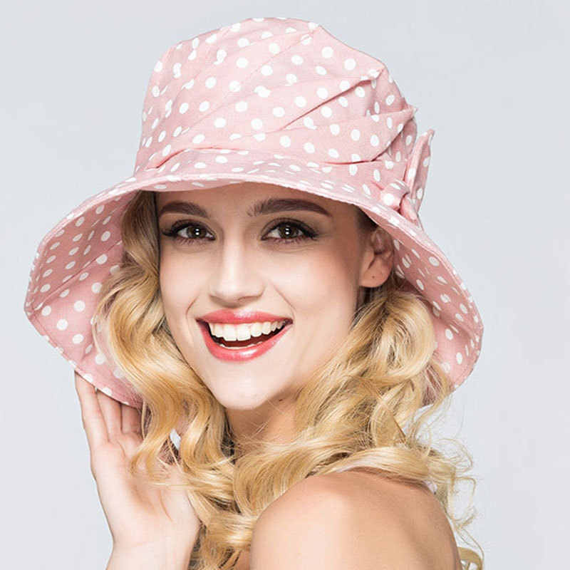 f1d31c991e5 Lady Summer Beach Wide Brim Fisherman Hat Women Fashion Sun Cap Cotton Dot Bucket  Hat