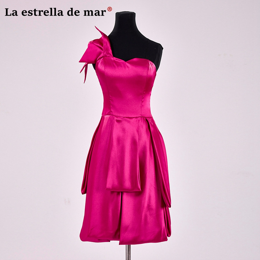 Wedding Guest Dress New One Shoulder Satin A Line Rose Red Bridesmaid Dress Real Photo Vestidos De Boda Invitada Tea-Length