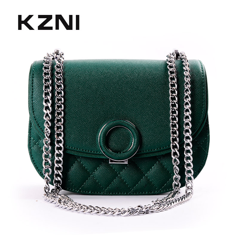 KZNI Cross Shoulder Bags with Chain Genuine Leather Handbags for Girls Shoulder Strap Bag for Women 2018 Sac a Main 9037