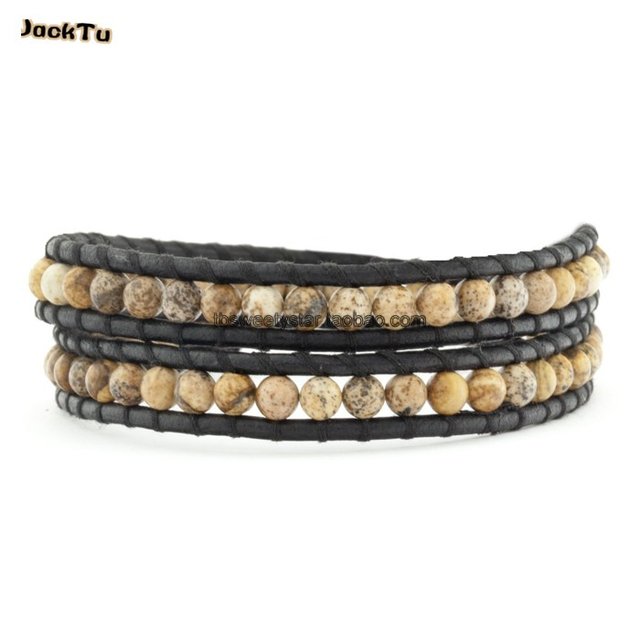 2016 jasper beaded single wrap black leather bracelet women and men