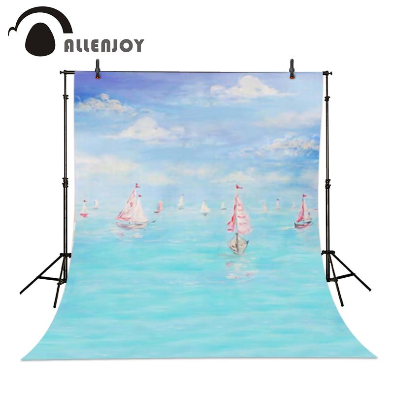 Allenjoy Photography background Blue bokeh ocean sailboat sky children boy studio customize  backdrops blue sky чаша северный олень