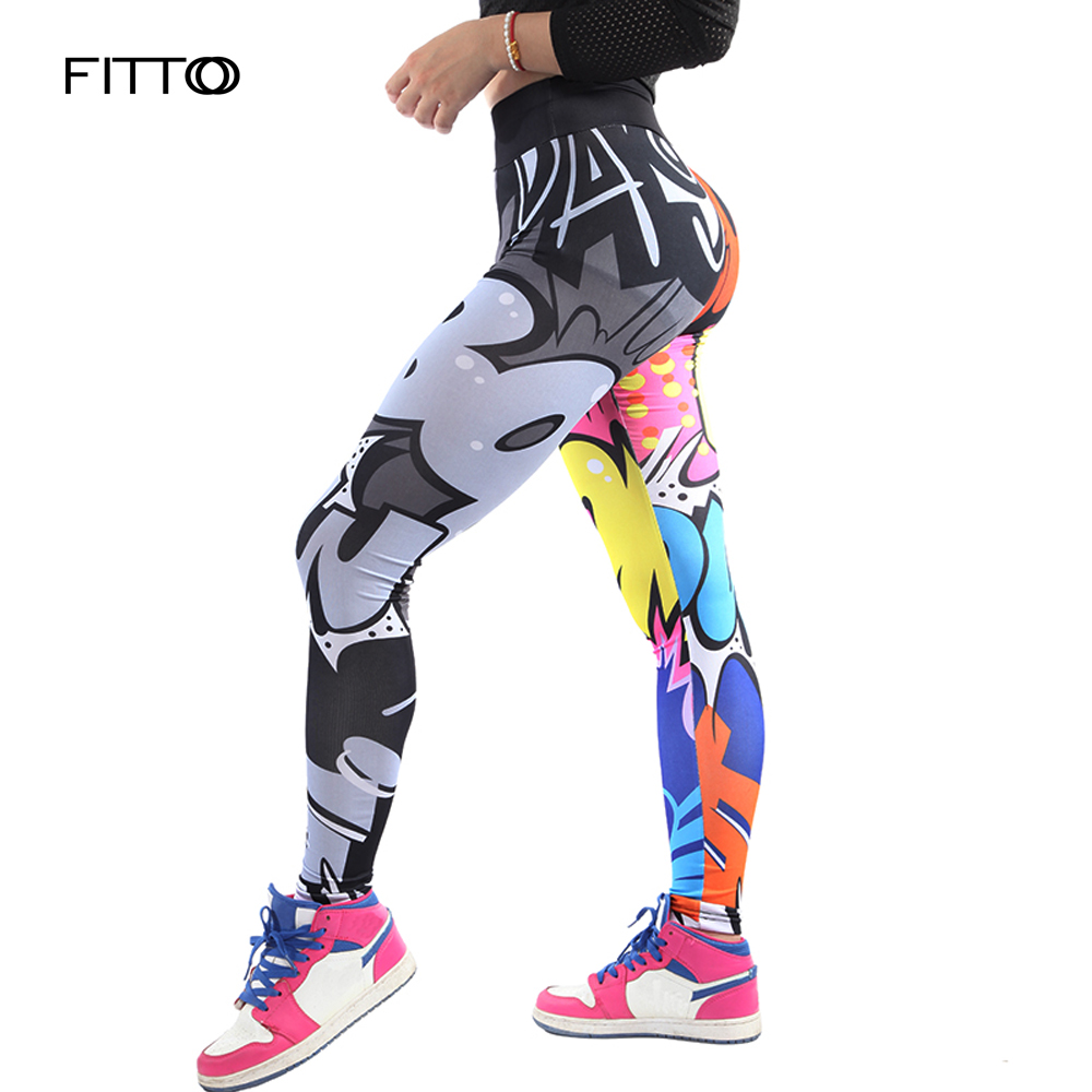 FITTOO Leggings Fitness & Body Building Pants Women Workout Leggings Adventure Time Cartoon Styles Letter Printed Leggings S-XL