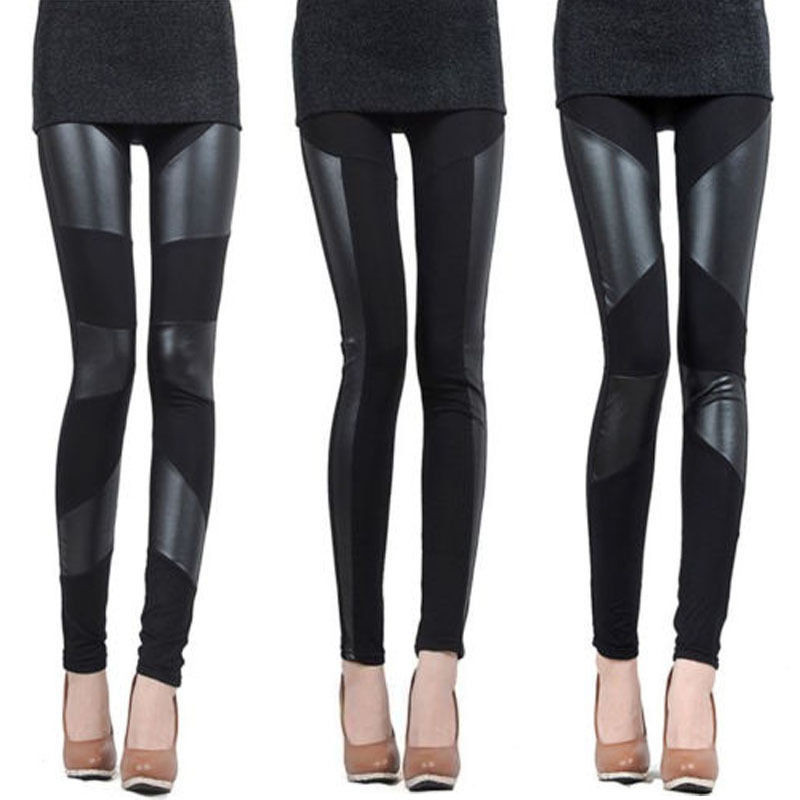 Black Faux Leather Patchwork  Leggings New Fashion Womens High Quality Trousers Pants Sexy Bodycon Slim Leggings