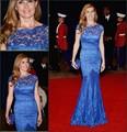 Сексуальная Royal Blue Плюс Размер Вечернее Платье Кружева Конни Бриттон в белый Дом Бато Формальные мать Невесты Жених Платье Платье