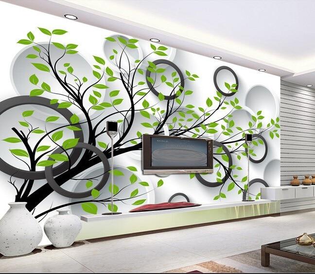 3d Wallpaper Walls 3D Solid Circle Background Big Tree Murals Papel De Parede Hotel Living Room