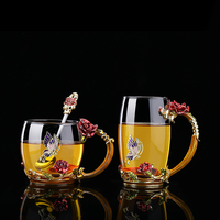 Beauty And The Best Novelty Enamel Coffee Cup Mug Flower Tea Glass Cups For Hot And