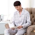 Envío Libre Para Hombre ropa de Dormir de la primavera y el otoño masculina set Sueño del salón A Cuadros elegante de la largo-manga Lounge 038