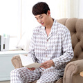 Free Shipping Mens Sleepwear spring and autumn male elegant long-sleeve fashion set Plaid lounge Sleep & Lounge 038
