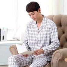Бесплатная Доставка Мужской Пижамы весной и осенью мужчины элегантный набор длинными рукавами моды Плед гостиная Сна и Lounge 038