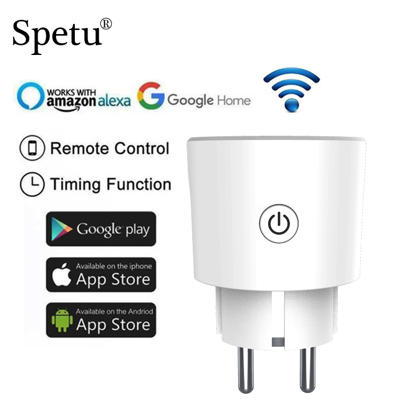 Spetu Mini Smart Plug WiFi Remote Control Support Amazon Alexa Google Home,IFTTT Timing On/off The Power Timing Function EU 16A