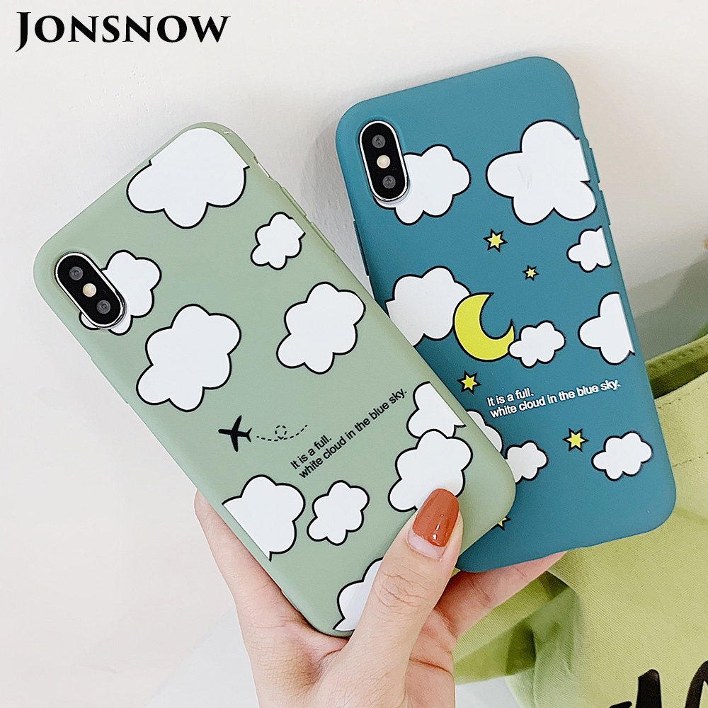 KIPX1114_1_JONSNOW Matte Phone Case for iPhone XS Max X XR Cases White Clouds Pattern Soft Silicone Cover for iPhone 6 6S 6P 7 8 Plus