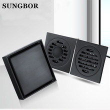 Square Anti-odor Floor Waste Grates 100X100 Shower Drain Black Bathroom Tile Insert 100% Brass Accessory