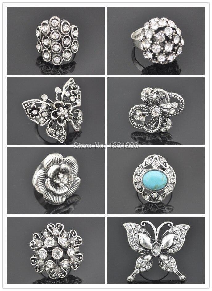 62.95S --- bague en pierre avec des bijoux en cristal prix usine mode Tibet alliage en gros
