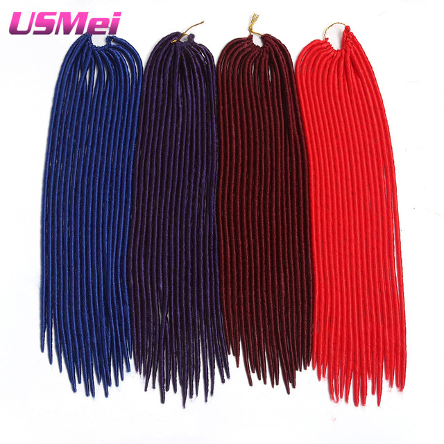 Trenzas de pelo trenzado del ganchillo crochet giro pelo rojo azul ...