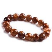 Natural Genuine Copper Needle Rutilated Quartz Powerful Stone Beads Bracelet 12mm