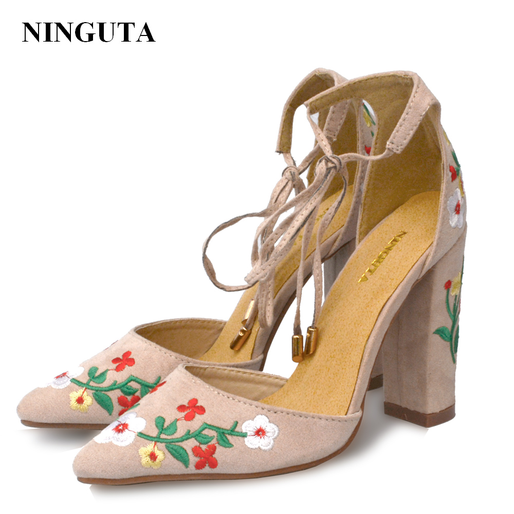 цена NINGUTA embroider high heels shoes woman summer ladies shoes for wedding party онлайн в 2017 году