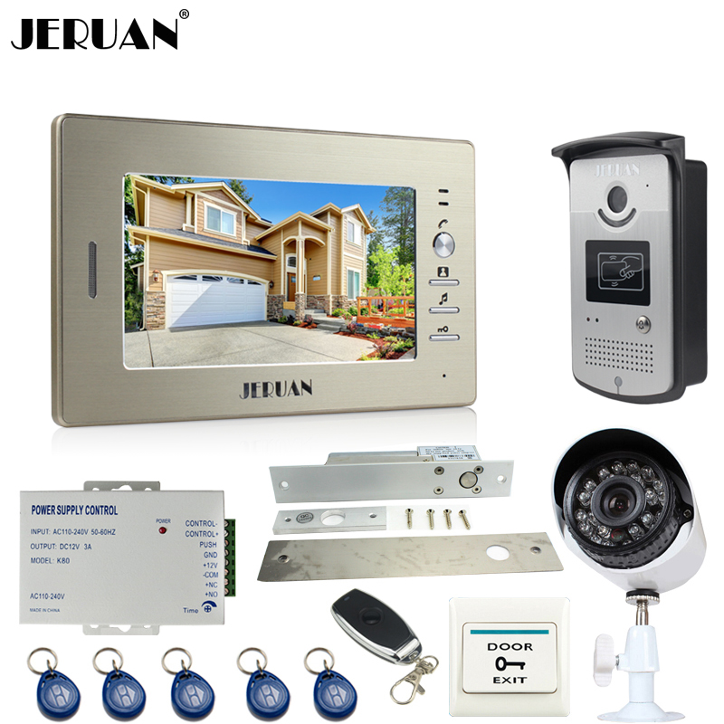 JERUAN Perfect 7``Video Door Phone Intercom System kit RFID Access Camera+700TVL Analog Camera+remote control+E-lock+Exit button jeruan apartment 4 3 video door phone intercom system kit 2 monitor hd camera rfid entry access control 2 remote control