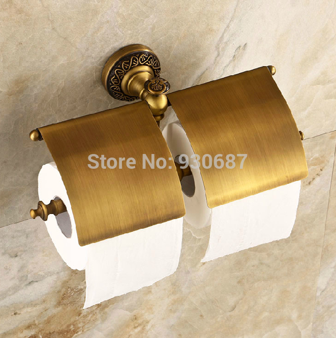 Antique Brass Bath Dual Toilet Paper Holder Flower Carved Roll Tissue Bracket kitbun6101bwk390 value kit toilet tissue 9quot diameter bun6101 and boardwalk disposable apron bwk390