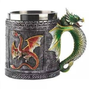 Medieval Retro Coffee Tea Cup Copo Caneca Decorative Royal Cool Dragon For Creative Gift Game Of Thrones Theme Souvenir Wine Mug(China)