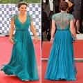 Vestidos de la celebridad Kate Middleton Azul Verde Color Bienes Imágenes Reales una Línea de Cuello V Cap Mangas de Encaje Con Cuentas Cinta de Kate vestidos