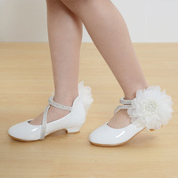 2017 Children new fashion high heels leather shoes princess style party prom shoes for girls high quality non slip dancing shoes