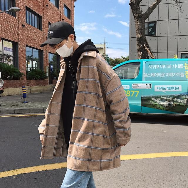 2018 new exquisite Korean style coat coat loose wild tide brand casual large size men's jacket beige / purple M-2XL