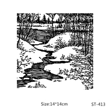 AZSG Brook Quiet Scenery Clear Stamps/Seals For DIY Scrapbooking/Card Making/Album Decorative Silicone Stamp Crafts