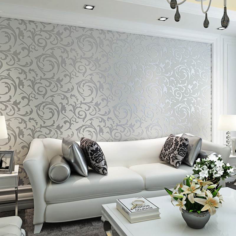 Classical European Style Non Woven Wall Paper Roll Yellow grey Wallcovering Luxury Floral Wallpaper for