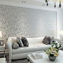 Классический Европейский стиль нетканые обои настенная бумага рулон желтый/серый обои роскошные обои цветочный papel de parede