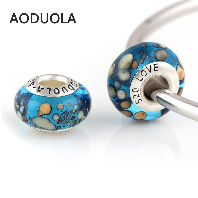 9* 14 mm Glass Beads Blue Glass Bead Large hole DIY Spacer European Murano Chunky Czech Bead Fit For Pandora Charms Bracelet