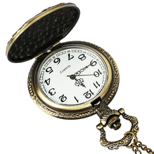 Roman digital quartz necklace pocket watch retro bronze  gold steampunk car pocket watch chain men's and women's clocks